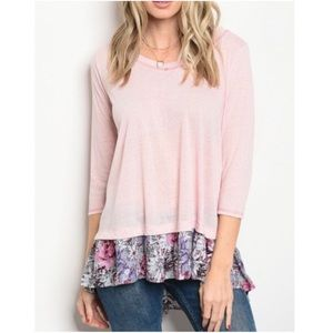Pastel Pink Slub Knit Top w/ Ruffled Floral Hem💐